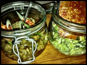 jars of Greek at Mazi