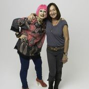 Zandra Rhodes and Caroline True at the shoot