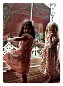 little women in Millieman's Liberty print dresses