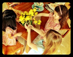 a spot of flower arranging too!