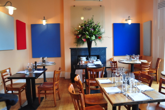 blue canvases at Assaggi, Notting Hill