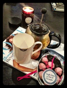 Rococco chocolates and a pot of camomile tea with my Liptease bone china mug for my night in.  alone. bliss.