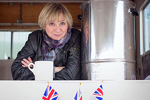 Victoria Wood with her cuppa