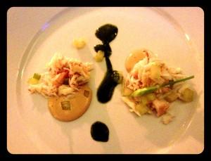 art on a plate:  cornish crab, celery, sorrel, egg yoke
