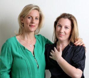 Bec Astley Clarke and me posing with our genetic breast cancer bracelet in advance of the launch next month
