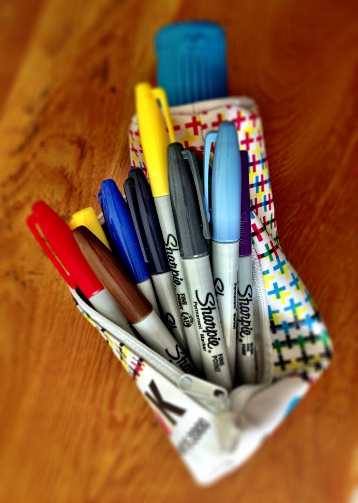 pen by Sharpie (pencil case by Tiger)