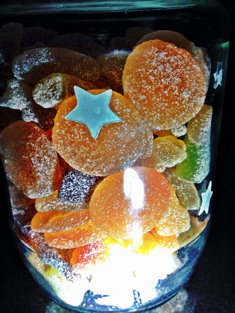 The Goody Good Stuff Halloween Mix Multi Bag (Tesco) in my own jar with glow in dark stickers!