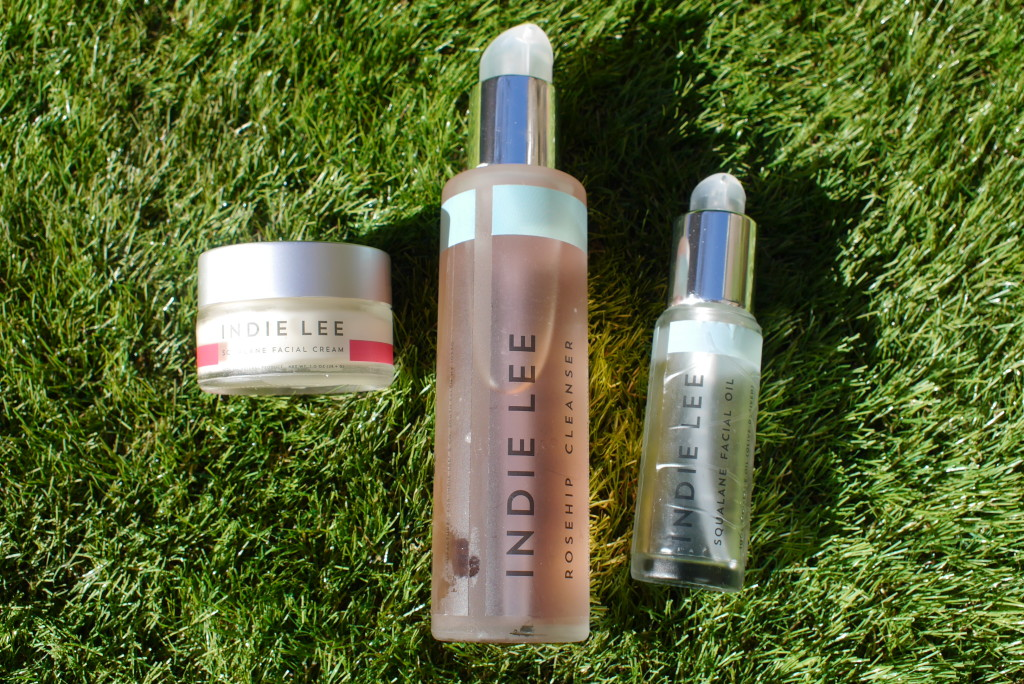 Squalane Facial Cream (£44),  Indie Lee Rosehip Cleanser (£21) and Squalane Face Oil