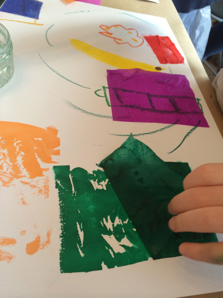 and their introduction to Paul Klee using wax crayon, water on tissue paper and brushes.