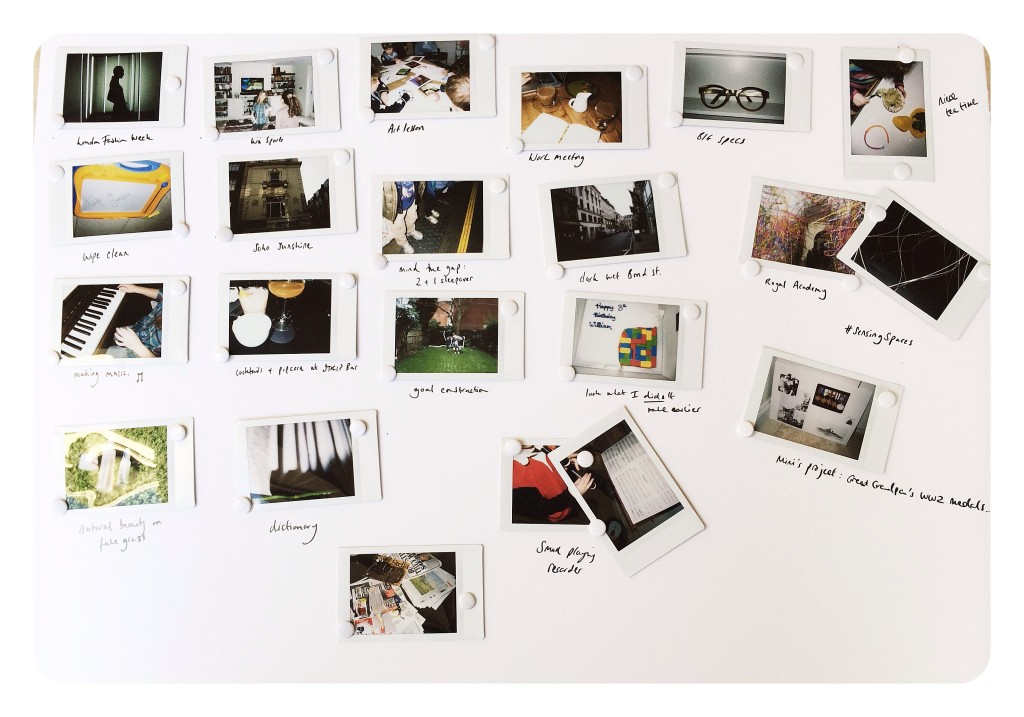 my story board of Instax pictures/captions