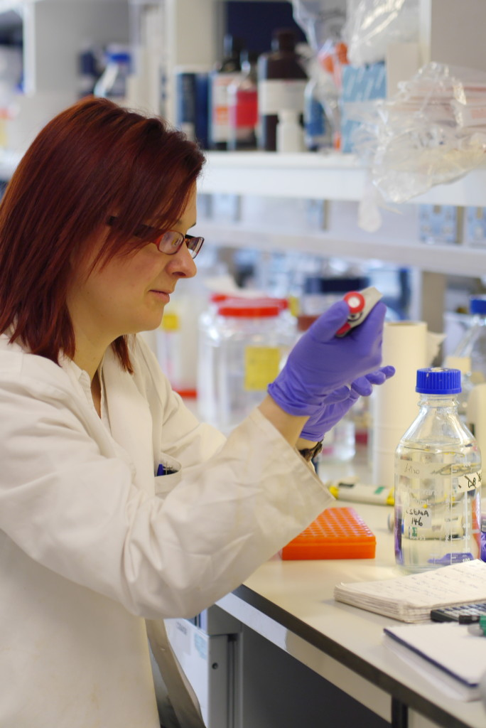 Jo at work in her lab, Birmingham University