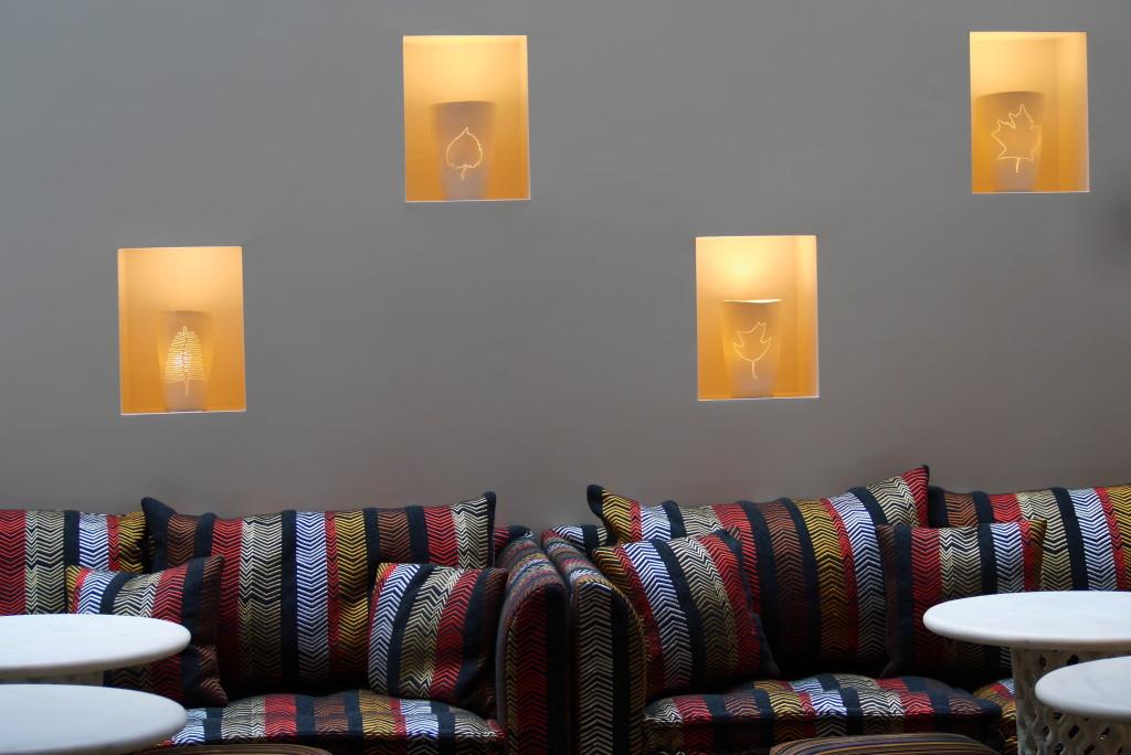Martha Freud porcelain bowls decorate the walls