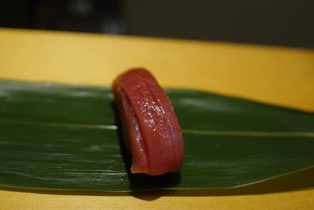 medium fatty tuna on a banana leaf.  We were instructed to eat it whole. no chopsticks allowed. soy sauce not advised.
