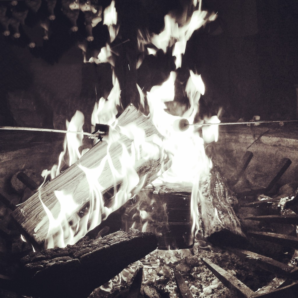making s'mores by the campfire