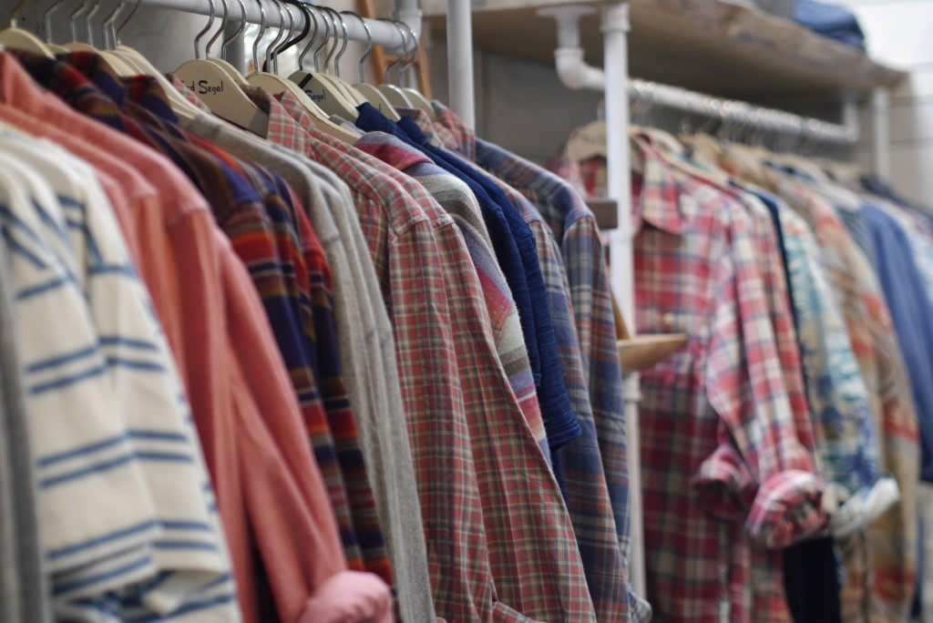 He bought a plaid shirt by a new brand called Faherty.