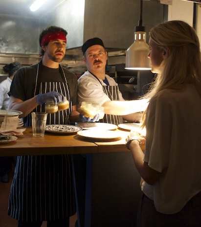 Jacinta Maddison - the other founder… talking to the chefs at Bobo Social