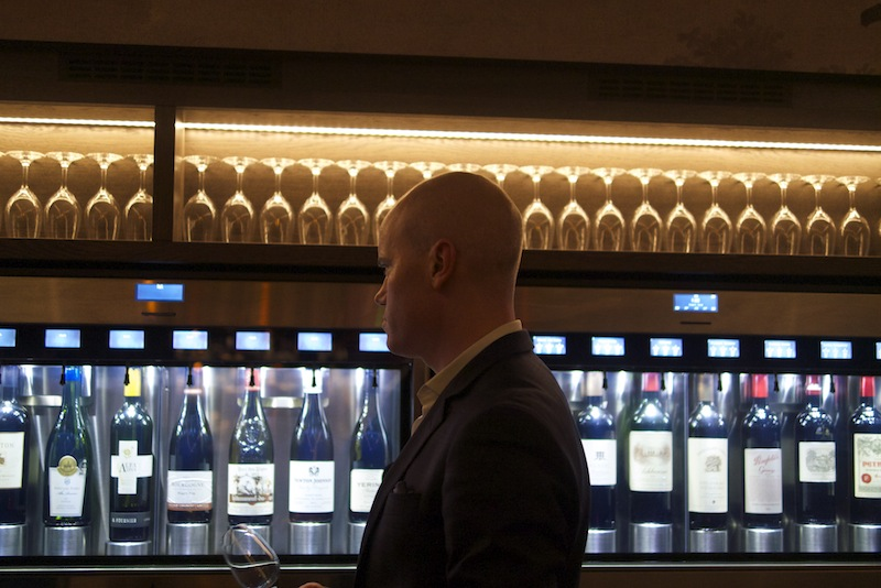 Martin showing us his wine tasting wall