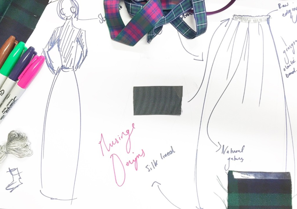 we were invited to mock up mood board detailing anything we'd love to have made. In tartan, of course. Jemima had already set her heart on a maxi skirt.