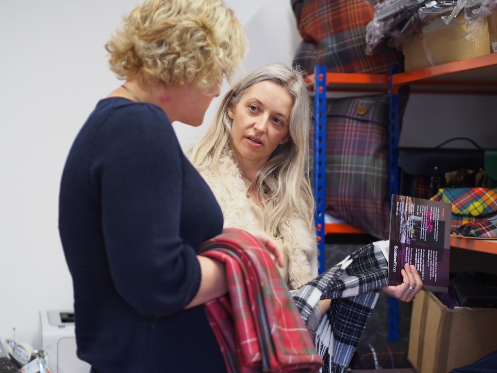 Joanne from The Stylist and the Wardrobe discussing tartans and patterns with Anna of Scotland Shop