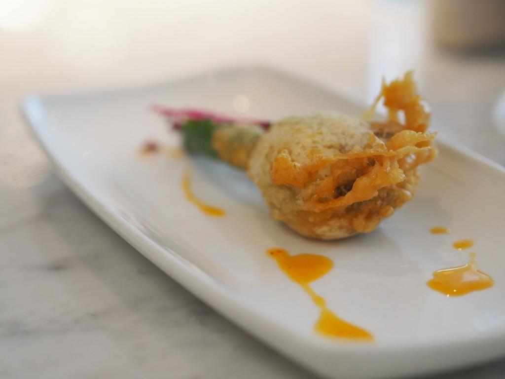 courgette flower with cod brandada